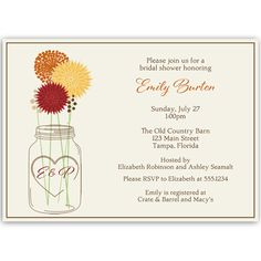 """Invite guests to your bridal shower with this country wedding themed invitation featuring an initialed mason jar holding autumn colored flowers.  To customize mason jar with the couple's initials, please put them in the """"Notes to Designer"""" box."""