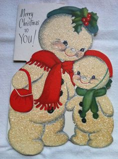 Snowman mother with son