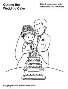 kleurplaat de trouwtaart