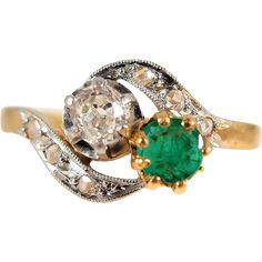 Splendid 2 tone solid gold diamond and emerald bypass ring, stamped, numbered, 18K French gold crossover alternative Toi et Moi engagement ring