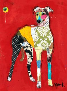 Original Dog Art Greyhound Mixed Media Abstract Collage Art Painting
