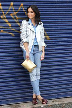 gold metallic H bag - patchwork H jeans - silver metallic Zara jacket