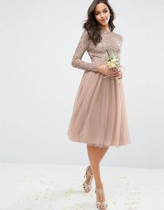 b991e7573f Maya Long Sleeved Midi Dress with Delicate Sequin and Tulle Skirt