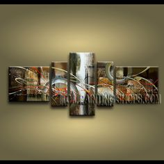 Beautiful Modern Abstract Painting Hand-Painted Art Paintings For Bath Room Abstract. This 5 panels canvas wall art is hand painted by A.Qiang, instock - $187. To see more, visit OilPaintingShops.com