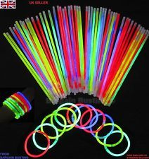 "MULTI COLOURED 6""/8"" GLOW STICKS AVAILABLE IN PACKS OF 1, 15, 30, 45 OR 100"