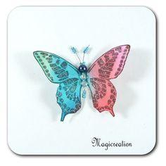 MAGNET PAPILLON SOIE BLEU ET ROSE - INES - Boutique www.magicreation.fr