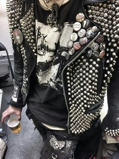 Leather Jacket with studs spikes pins buttons