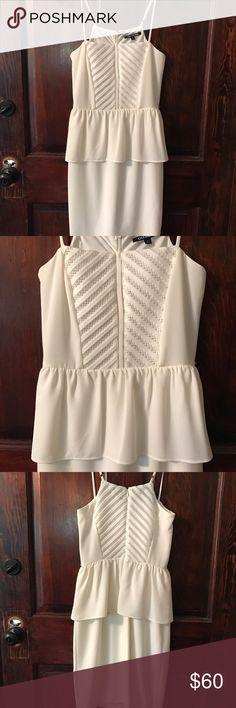 NWT! GB Peplum Dress Perfect summer dress!  Bridal shower, rehearsal dinner..  beautiful white peplum dress.  Zips in back, adjustable straps.  Beautiful detailing! Gianni Bini Dresses