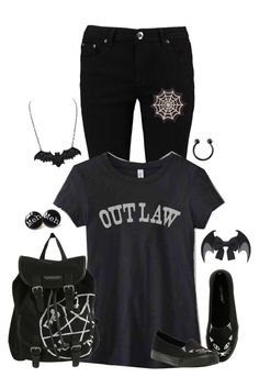 """""""Outlaw"""" by meow-im-dead-inside ❤ liked on Polyvore featuring Boohoo, INC International Concepts and Hot Topic"""