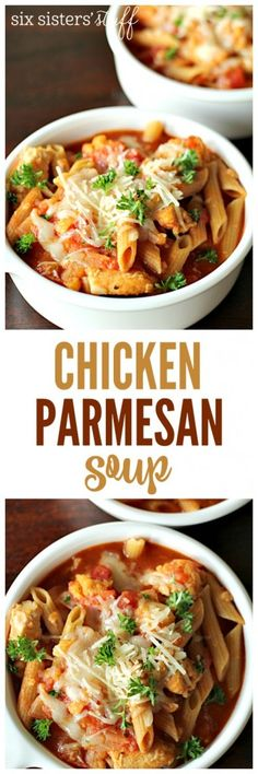 Easy Chicken Parmesan Soup from SixSistersStuff.com | A fast and filling dish that comes together in a matter of minutes!