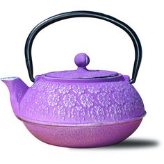 """Old Dutch Plum Cast Iron """"Cherry Blossom"""" Teapot ($25) ❤ liked on Polyvore featuring home, kitchen & dining, teapots, tea, decor, fillers, kitchen, purple, castiron teapot and cherry blossom teapot"""