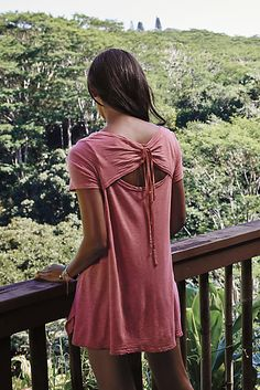 color, pretty back detail but simple, add skinny jeans + scarf Tie-Back Tunic - anthropologie.com