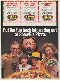 "80's fast food restaurants | SHOWBIZ PIZZA PLACE :: ""Put the fun back into eating out at ShowBiz ..."