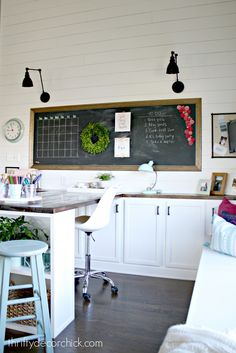 Everything you wanted to know (about the craft room makeover!) from Thrifty Decor Chick Full recap of DIY projects and sources for the craft room and office makeover. Includes shiplap walls, a large DIY desk and a giant chalkboard. Craft Room Storage, Craft Room Desk, Craft Room Tables, Cricut Craft Room, Room Organization, Diy Desk, Storage Ideas, Home Office, Office Nook