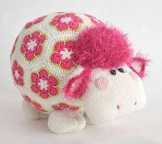 Hipopotamo con exagonales en rosa