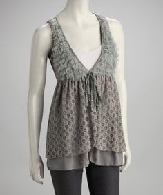 Take a look at this Gray Lace V-Neck Sleeveless Top by A'reve on #zulily today!