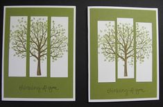Sheltering Tree stamp set - Stamping with Lynn Best Christmas Tree Decorations, Cool Christmas Trees, Christmas Tree Cards, Birch Tree Tattoos, Wedding Jars, Wedding Tree Guest Book, Leaf Drawing, Tree Illustration, Fall Cards