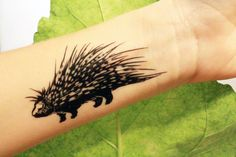 Porcupine Temporary Tattoo, Black Ink, Forest Animal Tattoo, Nature Tattoo