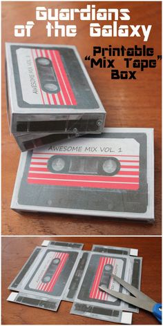 DIY Guardians of the Galaxy Mix Tape Box Printable from 30 Minute Crafts. When I first saw the this I thought it was a printable that went in an old cassette tape box - but it's not. So all you need...