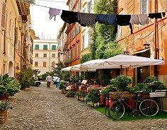 Market and Cafe, Florence, Italy