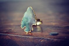 .arrowhead electroformed gemstone ring by lux divine.