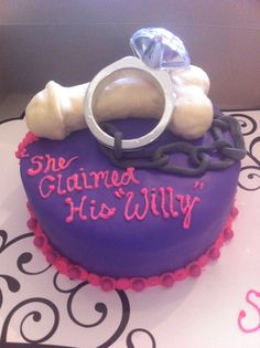 She Claimed His Willie Bachelorette Cake