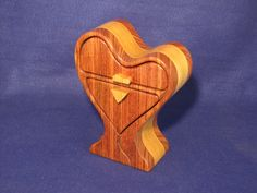 This Beautiful Heart Shaped Band Saw Box Has Two Drawers For Your Jewelry Or…