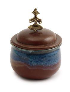 Indigo-Brown Dokra Pot with Lid - Buy Home Accents > Serveware > Indigo-Brown Dokra Pot with Lid Online at Jaypore.com
