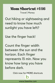 Travel and Money Shortcuts #146: The sundown finger hack! Get your daily source of awesome life hacks and parenting tips! CLICK NOW to discover more Mom Hacks. #beenke #MomShortcuts