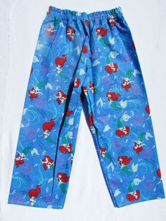Little Mermaid pajama cotton pants by livenlovecreations on Etsy Cotton Pyjamas, Cotton Pants, Pajamas, Pajama Bottoms, Pajama Pants, The Little Mermaid, Boy Or Girl, Trending Outfits, Clothes