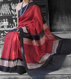 Elegant Chanderi Saree with Block Printing & Woven Temple Borders – India1001.com