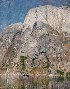 Adelsteen Normann (1848-1918): Dampbåt i Nærøfjord