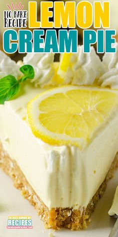 Icebox Desserts, Lemon Desserts, Lemon Recipes, Köstliche Desserts, Sweet Recipes, Delicious Desserts, Cream Pie Recipes, Summer Dessert Recipes, Cookie Recipes