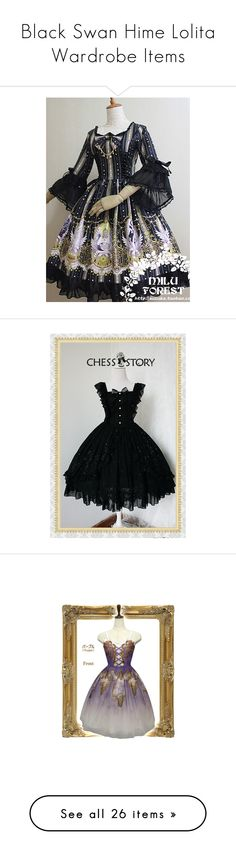 """""""Black Swan Hime Lolita Wardrobe Items"""" by sakuuya ❤ liked on Polyvore featuring jsk, skirts, lolita, white skirt, white knee length skirt, embroidered skirt, tops, blouses, steampunk and shirts"""