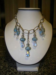 Turquoise and swarovski crystal on heavy silver chain necklace by CATHY FANSLER