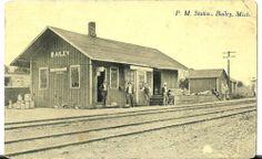 1910's Bailey Michigan Pere Marquette Railroad Depot Post Card