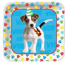 Puppy Paw-ty Time Dessert Plates (8) : Let's Paw-ty with these cute pup themed plates!