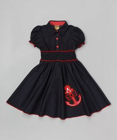 Look at this Navy Anchor Shirred Puff-Sleeve Dress - Toddler & Girls on #zulily today!