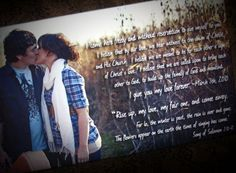 Romantic, unique idea to display your engagement pictures photos at your reception. Personalized Custom Large Gallery Wrapped Canvas Photo & Word Art. Music, Wedding, Engagement Or Anniversary Photo with Vows,lyrics, Poem, Love Letters. Perfect gift for anyone in your life!  by GeezeesCustomCanvas, $145.00