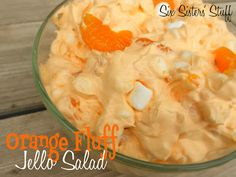 Orange Fluff Jello Salad: 1 large pkg Cook & Serve vanilla pudding- 1 large package orange jello- 2 cups water- 1 Cool-Whip- bag mini marshmallows- 1 can pineapple tidbits- 1 can mandarin oranges- 2 bananas,sliced.I would prob do without bananas! Jello Desserts, Jello Recipes, Dessert Salads, Just Desserts, Dessert Recipes, Fruit Salads, Salad Recipes, Health Desserts, Gourmet