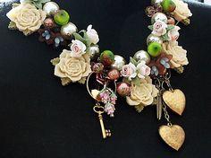 Statement Necklace ROSE GARDEN Handmade an by KatherineCooper, $250.00