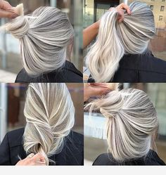 Some ideas for this hair color Ash Blonde Hair Color Hair Ideas Grey Blonde Hair, Blonde Hair Looks, Platinum Blonde Hair, Hair Color Pink, Blonde Color, Wedding Hair Colors, Hair Highlights, Balayage Hair, Dyed Hair