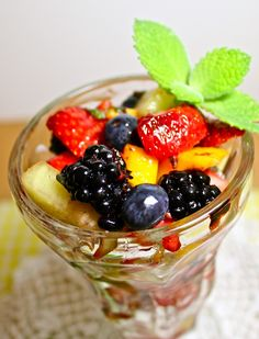 // White Balsamic Mint Fruit Salad // Try this with our Lemongrass Mint White Balsamic, or our Honey Ginger White Balsamic