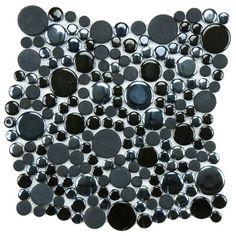 "Found it at AllModern - Posh Bubble 11.25"" x 12"" Porcelain Mosaic Tile in Black - Bathroom shower floor tile"