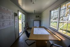 Our container offices are spacious, secure, comfortable and cost-effective. Delivered to your door/site. We service Stellenbosch and surrounds + Gauteng and surrounds. Office Interiors, Interior Office, Design Interiors, Shipping Container Office, Site Office, Container Conversions, Modular Office, Mobile Office