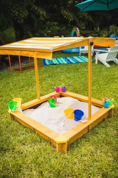 Canopied Sand Box from Elmo's Super Splash Birthday Party on Kara's Party Ideas   KarasPartyIdeas.com (26)