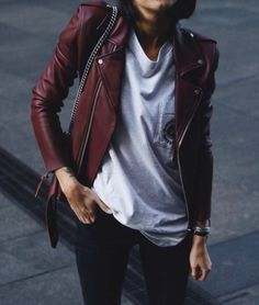 Oxblood leather.