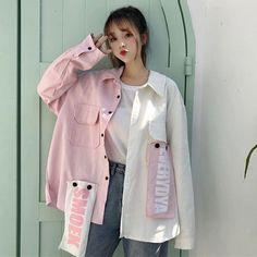 Sleeve : / Tip :Only one size in-stock, suitable for size S / M Mode Harajuku, Estilo Harajuku, Harajuku Fashion, Hooded Bomber Jacket, Shirt Jacket, Girl Fashion, Fashion Outfits, Fashion Clothes, Casual Outfits