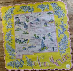 New Mexico state map + blue yucca flowers [handkerchief / scarf]