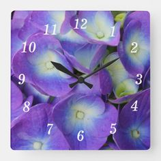 Beauty Of a Blue Hydrangea Square Wall Clock Blue Hydrangea, Blue Flowers, Photography Gifts, Wall Clocks, Planting Flowers, In This Moment, Purple, Prints, Artwork